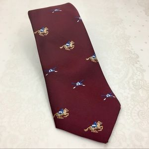 Kentucky Derby Vtg Horse Racing Burgundy Necktie
